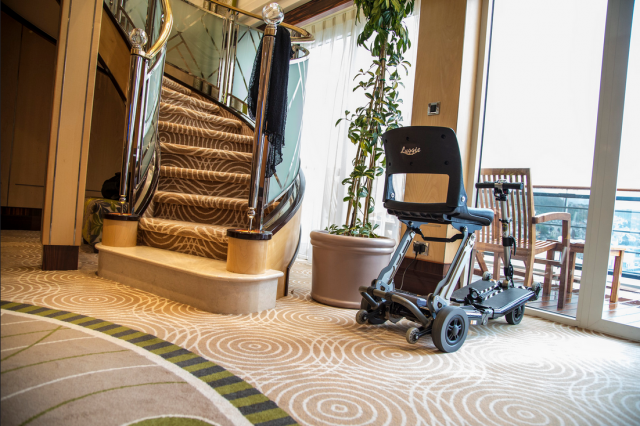 Portable mobility scooter on cruise ship