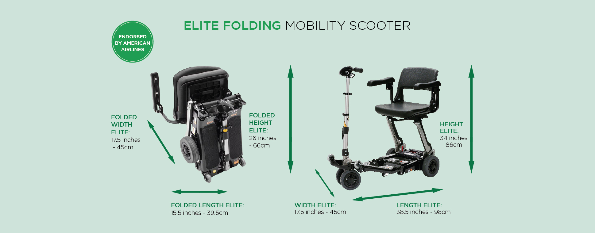 Elite folding mobility scooter